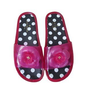 Kate Spade Pink Floral Jelly Slides 8
